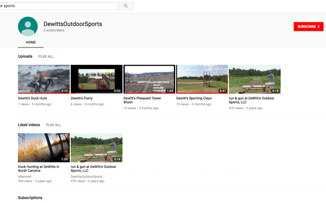 Dewitt's Outdoor Sports Videos